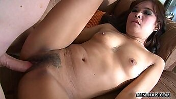 Adorable and pretty Thai girl goes naughty with guy and gets fucked