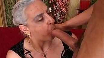 Busty MILF rides huge cock granny anal