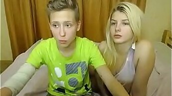Busty lesbian teen show pussy on cock