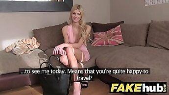 Blonde minx gets fingered on casting