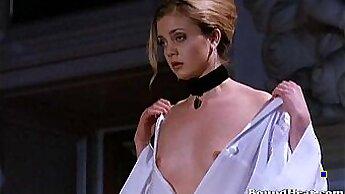 Blonde mistress Aubra Blake rides her slave