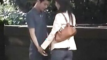 Couple fucking in public toying snatch