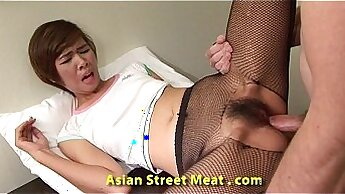 Asian cutie Lexi Rae enjoys getting analfucked from behind missionary
