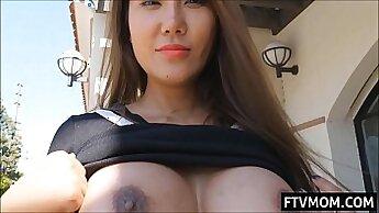 Busty asian milf Danie resort flashing tits and sucking staff dick on