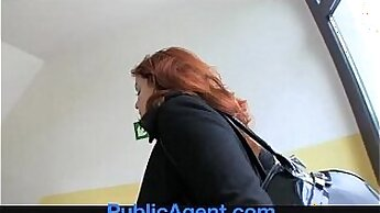 Busty redhead cums anally on dicks