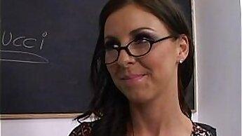 Brenda masturbates up to her teachers pale tits