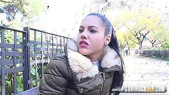 Cute cabbie fucks busty teen model in public