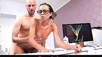 Buxom MILF oiled and fucked by her horny boyfriend