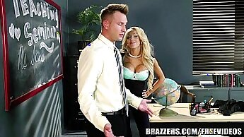 Busty blonde teacher gets fucked by live cock hooker