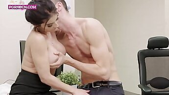 hot latina is getting her pussy licked by her boss in the office