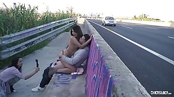 Crazy pornstars Smoke and June in Fabulous Small Tits, Outdoor sex video