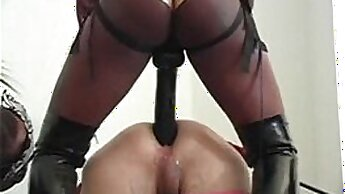 Beautiful fuck slave gets strapon dominated