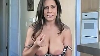 Busty honey Katy Ivy jerks off a hard cock while having sex