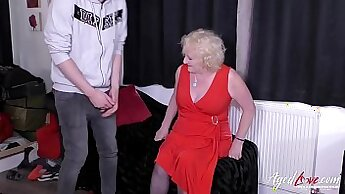 Blonde mature enjoys hardcore alone with a dude