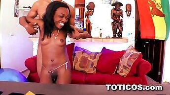 Curly stud eats juicy pussy of ebony teen