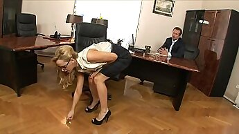 Blonde nympho is screwed in the office by her boss on top