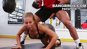 Busty gym babe Morgan Jackson has perfect pussy