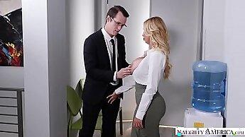 Busty hooker gets slammed by horny stud in his office