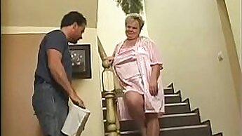Cute brunette granny gets punished for shoplifting